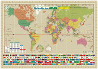 グリニッジ中心クラシック版世界地図『ATLAS』【英語表記】ユポ紙(耐水性)