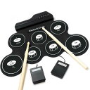 電子ドラム ポータブルドラム 7個ドラムパッド 8デモ曲 5ドラム音色 練習用パッド