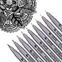 製図ペン 9本セット 漫画用ペン 防水 サインペン ニードルペン ドローイングペン 黒インク 線径0.05-1.0