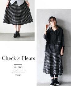 プリーツスカート。フレア。チェック。ブラック格子柄。CheckPLEATSSKIRT4/222時販売新作×メール便不可