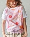【再入荷♪7月19日22時より】プリントTシャツ。柄。ピンク。異素材。大輪の花。6/27 22時販売新作〇メール便可