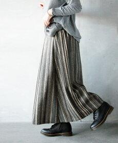 フレアスカート。ストライプ。グレー。ベージュ。フランネル調。この風合い。ほっこり暖か。10/3022時販売新作×メール便不可