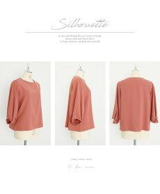トップス。ピンク。オレンジ。長袖。女性らしさ存分に。ぷっくり袖10/120時販売新×メール便不可