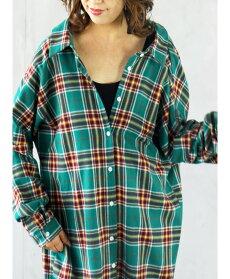 (グリーンチェック)変形が造る絶妙こなれシルエット。デザインロングシャツ。羽織り。ワンピース10/1422時販売新作×メール便不可