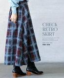 【再入荷♪1月10日20時より】スカート。ブルー。グレー。遊び心溢れるレトロなチェック柄。12/12×メール便不可