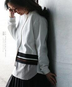 カットソー。トレーナー。ホワイト。異素材ドッキングトップス。着て即オシャレ。2/1222時販売新作×メール便不可