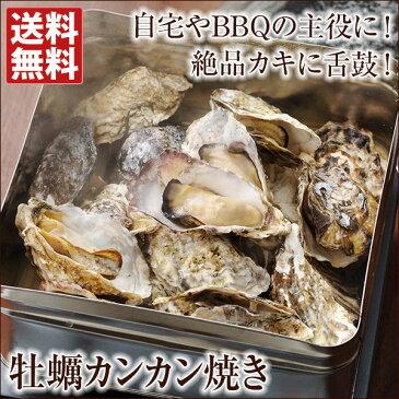 牡蠣 殻付き カンカン焼きセット(殻付き牡蠣約1.5kg) 冷凍 軍手・ナイフ付 送料無料殻付き牡蛎 蒸しカキ 焼きかき