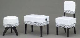 ♪ピアノレース 椅子カバー CM-3A(丸椅子タイプ):ホワイト