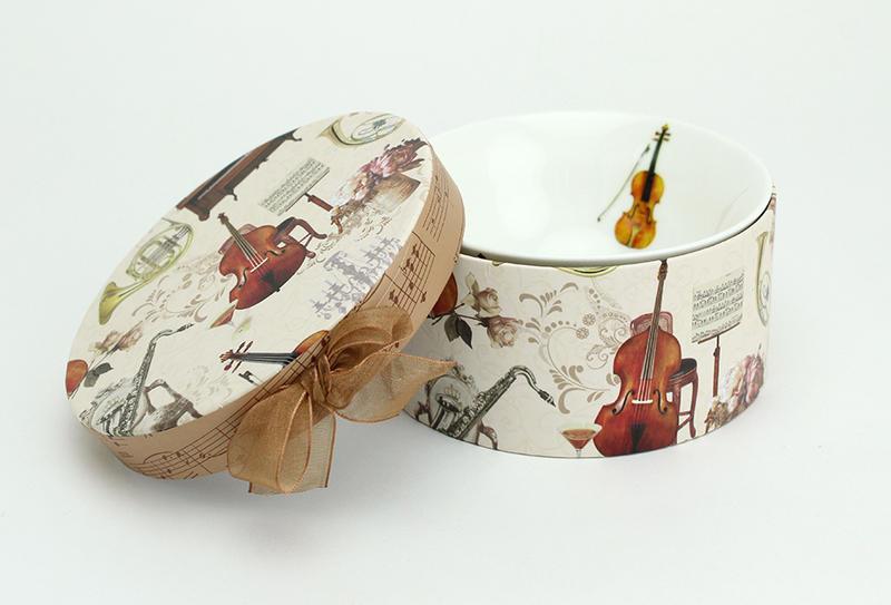 音楽雑貨 リボン付きBOX入りのライスボール 8390035お茶碗 547-1501-00 レオノーレ ジャストウイロー