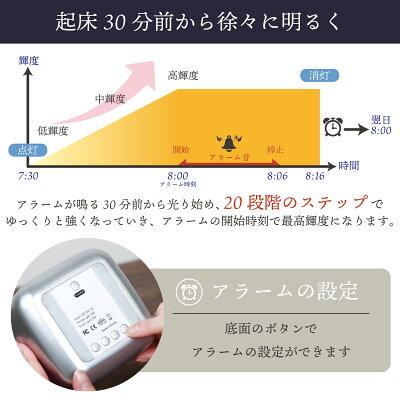 目覚まし時計起きれるデジタル大音量光で起きる赤ちゃんナイトライト持ち運び子供部屋おむつ替えLEDルームライト3階段明るさモードタッチセンサ