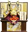 【五月人形送料無料】武光作「立体炎柄金具付中鍬形着用兜」収納飾り《RA3014》