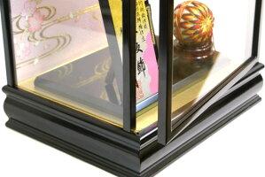 【羽子板】久月作華流水刺繍金襴桃赤明日香ケース飾り(55080-2)