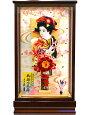【羽子板】久月作金襴つまみオレンジケース飾り(65050-1)
