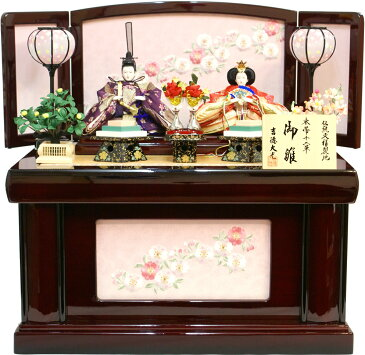 【雛人形 送料無料】吉徳大光 「花ひいな」二人親王 コンパクト収納飾り《605-485》