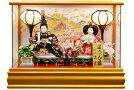【雛人形送料無料】久月作「よろこび雛」二人親王パノラマケース飾り《69872》