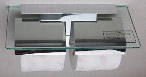 KAWAJUNカワジュンガラス棚付ダブルトイレットペーパーホルダー[SC-27M-XC]