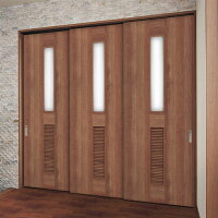 室内ドア【Panasonic/パナソニック】上吊り引戸1.5間3枚連動引違い戸(U7)枠納まり(固定枠仕様)[デザインKC型]XMJE1KCDNU7N71□内装ドアVERITIS(ベリティス)