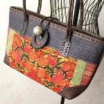 タイヤオ族シノワズリ花刺繍と渦巻きアップリケ☆本革ショルダートート型バッグ
