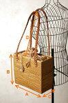 インドネシア三つ編みレザーショルダー☆バティック付きアタ製かごバッグ