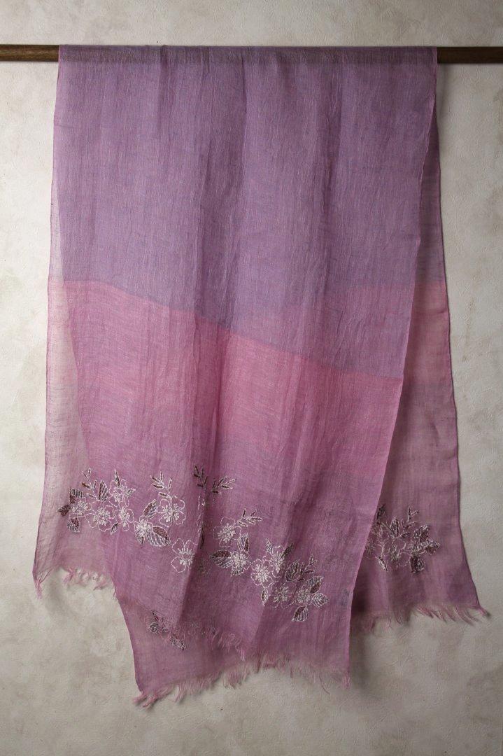 インド リネン 刺繍ストール 植物柄 パープル ...の商品画像