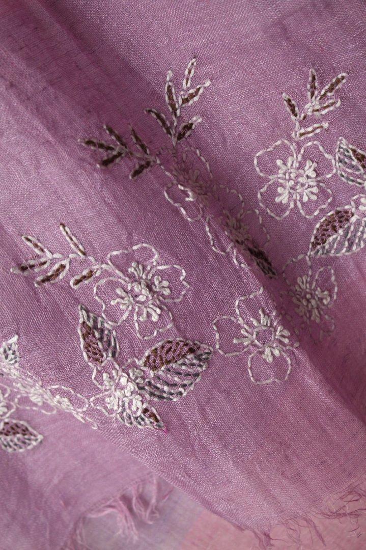 インド リネン 刺繍ストール 植物柄 パープル...の紹介画像2