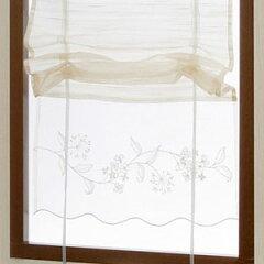 裾にレースをあしらってロマンティックリボンミルナー 小窓カーテン 幅43x丈120cm 【小窓 ミ...