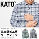送料無料 長袖 シャツ KATO カトー BASIC 三本針ビエラワークシャツ メンズ ネルシャツ チェックシャツ 長袖シャツ チェック柄 20%off