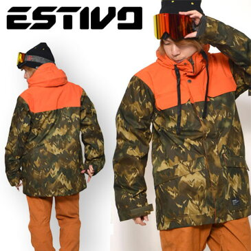 半額!! 送料無料 スノーボードウェア エスティボ ESTIVO EV MOUNTAIN CAMO J メンズ ジャケット カモフラージュ柄 カモ柄 迷彩 スノボ スノーボード スノーボードウエア SNOWBOARD WEAR スキー SKI 50%off