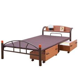 ベッドパイプベッドシングル棚付き引き出し付き