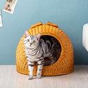 猫 ベッド ラタン ちぐら ドーム キャットハウス かわいい かまくら型 猫ちぐら ウレタンクッション付き