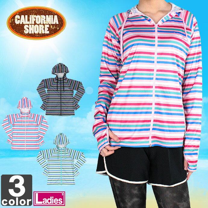 カリフォルニアショア【CALiFORNiASHORE】レディースフルジップ長袖ラッシュパーカー225-1041603マリンスポーツフルジップ海水浴UV対策ウィメンズ婦人