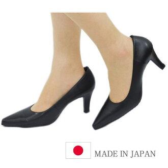 正式泵 7.0 釐米鞋跟尖頭高跟鞋 OT5 日本作出的 (皮革) 黑 (黑) 明智 3E 腿穩定高跟鞋辦公室招聘就業活動上活躍的禮儀 P27Mar15