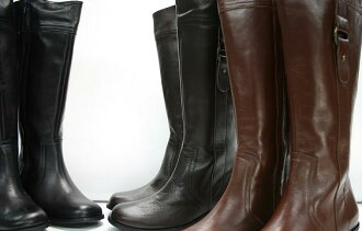 Leather boots 3039 tube width loose boots Cinderella size (small size)