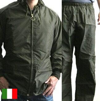 イタリア軍 防水 ジャケット 上下セット レイン / 新品 ミリタリー デッドストック 軍 / ブルゾ...