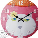 【送料無料】幅34cm壁掛け時計《キャットホワイト》レトロ調アンティークデザイン◆ウォールクロックレトロクロックラウンドクロック丸型時計壁掛時計丸時計掛け時計円形デザインクロックインテリア時計ピンクイラスト猫柄