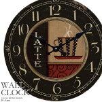【送料無料】幅34cm壁掛け時計《カフェラテ》レトロ調アンティークデザイン◆ウォールクロックレトロクロックラウンドクロック丸型時計壁掛時計丸時計掛け時計円形デザインクロックインテリア時計カジュアルカフェ風昭和レトロコーヒーカップ