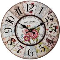 【送料無料】幅34cm壁掛け時計《ベルフラワー》レトロ調アンティークデザイン◆ウォールクロックレトロクロックラウンドクロック丸型時計壁掛時計丸時計掛け時計円形デザインクロックインテリア時計カラフルフレンチ花柄カラフルボタニカルホワイトピンク
