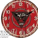 【送料無料】幅34cm壁掛け時計《1982ヴィンテージ》レトロ調アンティークデザイン◆ウォールクロックレトロクロックラウンドクロック丸型時計壁掛時計丸時計掛け時計円形デザインクロックインテリア時計レッド木目調看板風