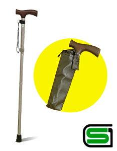 [安心のSGマーク付]折り畳みステッキ杖81〜91cm伸縮5段階調節機能!《超軽量約350gアルミ製》◆...