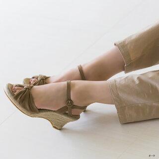 送料無料リボンデザインエスパドリーユサンダルレディースウェッジソール歩きやすい厚底サンダルストラップストラップサンダル【あす楽対応】a|ウェッジ靴ウエッジウエッジソール大きいサイズレディースサンダルウェッジサンダルりぼん楽天スーパーSALE