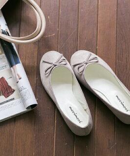 ◆予約商品◆★送料無料★スエード調シンプルバレエシューズフラットシューズぺたんこ靴ローヒール黒赤リボン2016秋冬大きいサイズ買い回り