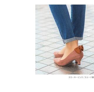 美脚も叶える5cmヒールバックリボンポインテッドトゥパンプス