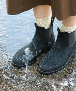 完全防水サイドゴアラグソールミドルヒールレインショートブーツ