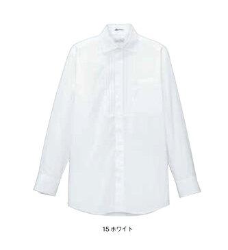 BONMAX メンズピンタックワイドカラー長袖シャツ【S〜4L】/ストレッチブロード/フォーマル/透け防止