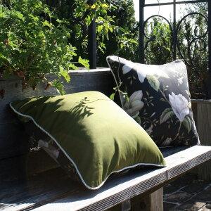 クッションカバー45×45cmインポートイギリス花柄ユリブラックグリーンパープルラベンダーエレガンスお洒落おしゃれ人気商品