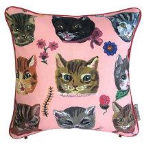 アウトスタイルクッションカバー45x45cmフランス製インポート生地ナタリーレテ猫かわいい猫おしゃれnathalieleteLESCHATSFONDROS