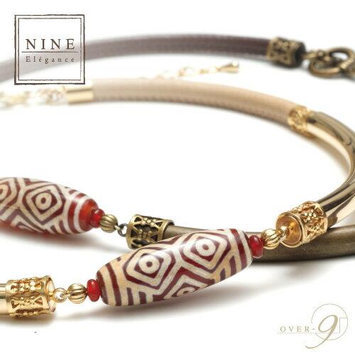【-Oriental beauty- 王と呼ぶにふさわしい優雅さと豊かさ 紅玉髄 龍眼天珠レザーチョーカー