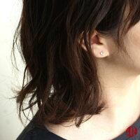 【A.UNjewelry】ブルームーンストーンハートピアス《直径約4mm》K18YG【鑑別済み】6月誕生石heart18金スタッドピアス
