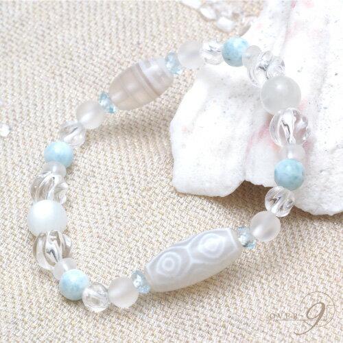 Aquablue amulet 〜海の宝石〜 『老玉髄 白龍眼天珠ブレスレット』