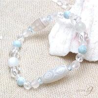 【Aquablueamulet〜海の宝石〜『老玉髄白龍眼天珠ブレスレット』】【メール便不可】